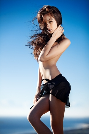 Beautiful Eurasian model outdoors