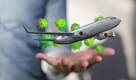Airplane with green virus on a hand 版權商用圖片
