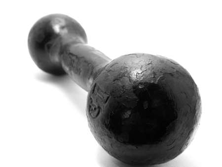 the big black iron dumbbell on a white background photo
