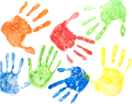handprint: colorful handprints on a white background