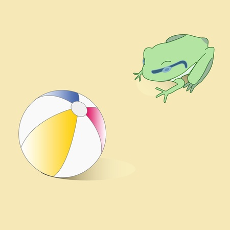 Abstract vector frog and ball  Vector illustration  Toys Stock Vector - 19486962