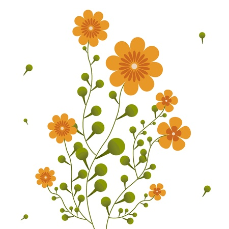 Orange flowers on curling stems. Abstract vector illustration. Vector
