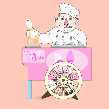 Ice cream vendor with cart. Abstract vector illustration.  Vector