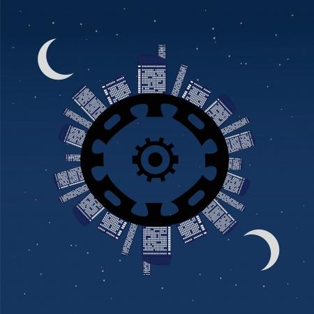 Night planet under stars. Abstract vector illustration. Stock Vector - 20329500