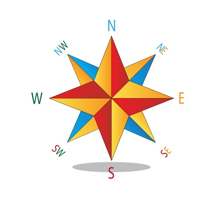 nautical vessel: Multicolored star compass  Abstract vector illustration  Illustration