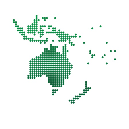 oceania: Green map of Oceania  Abstract vector illustration