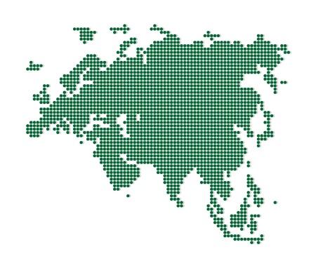 eurasia: Green map of Eurasia  Abstract vector illustration  Illustration