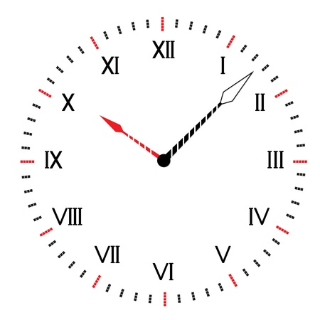 Two-color round clock. Abstract vector illustration. Vector