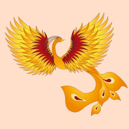 straighten: Phoenix with straighten wings  Abstract vector illustration