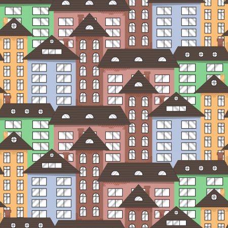 Multicolor city seamless texture  Abstract illustration  Vector