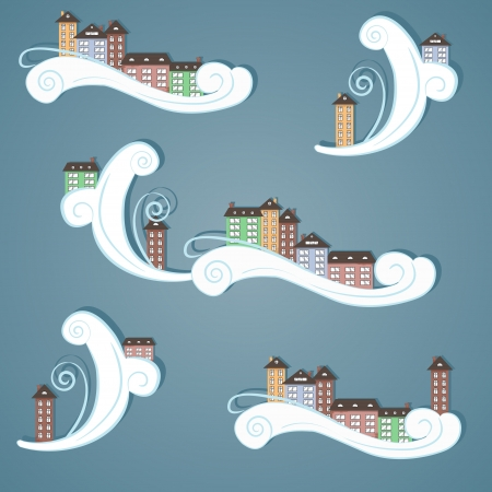 Paper city in the sky  Abstract illustration  Vector