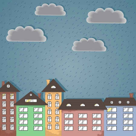 Paper city during the rain  Abstract background, Vector