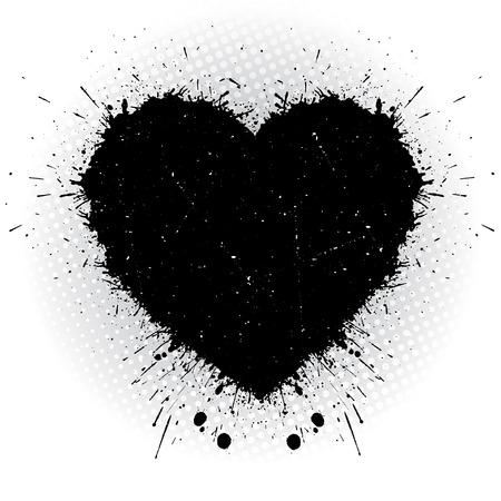 黒のインクの心。抽象的なベクトル イラスト。  イラスト・ベクター素材