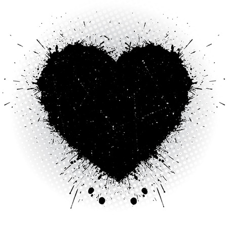 black heart: Black ink heart. Abstract vector illustration.