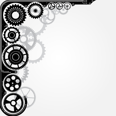 physical pressure: Mechanical cog wheel frame. Abstract vector illustration.