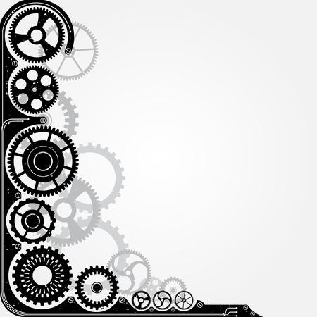 Mechanical cog wheel frame. Abstract vector illustration.