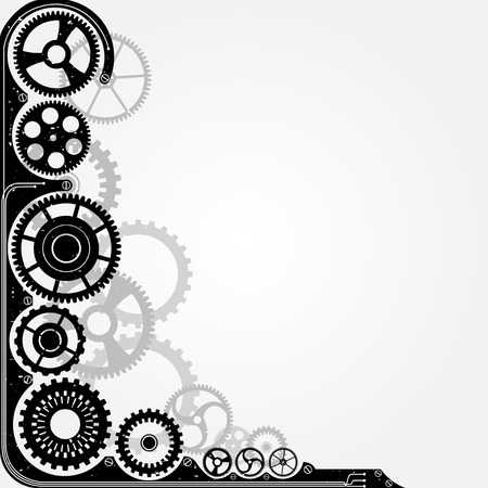 time pressure: Mechanical cog wheel frame. Abstract vector illustration.