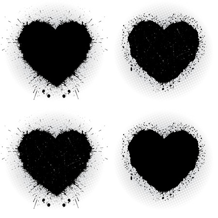 Set of black ink hearts. Abstract vector illustration. Vector