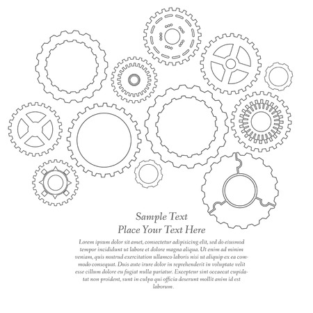 Gears cogs and pinions sketch. Abstract vector illustration. Vector
