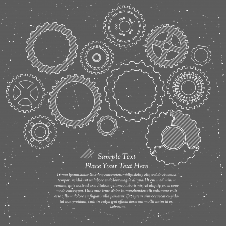 Gears cogs and pinions sketch. Abstract vector illustration. Stock Vector - 22303501