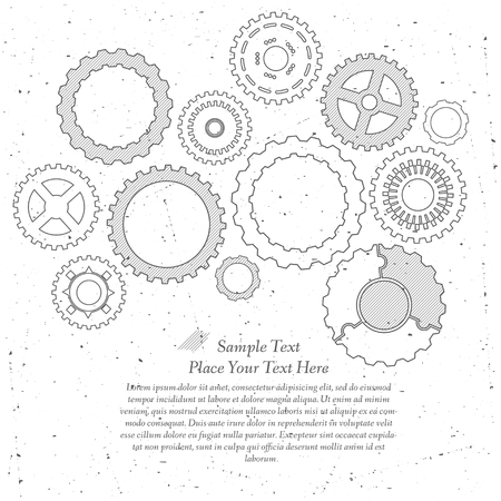 Gears cogs and pinions sketch. Abstract vector illustration. Stock Vector - 22303499