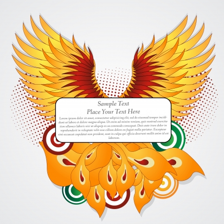 Straighten wings of the phoenix  Abstract vector illustration  Text banner  Illustration