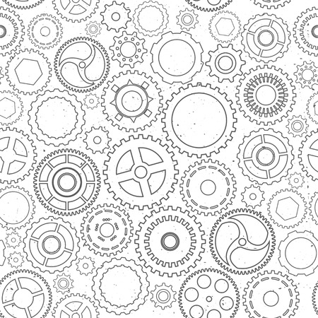 metal gears: Seamless texture with pinions. Abstract vector illustration.