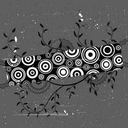withe: Grunge banner with concentric circles. Abstract vector illustration.