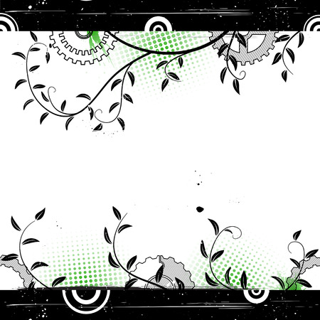 withe: Grunge floral background with concentric circles. Abstract vector illustration.