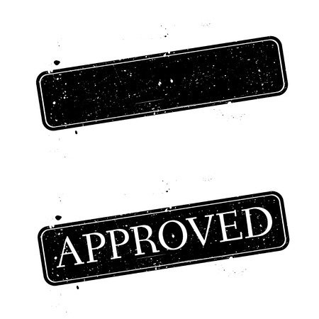 approving: Black grunge stamp on white. Abstract vector illustration.