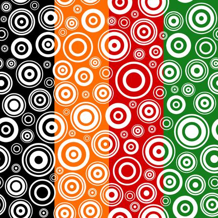 circulos concentricos: Conjunto de texturas sin fisuras con círculos concéntricos. Resumen ilustración vectorial.