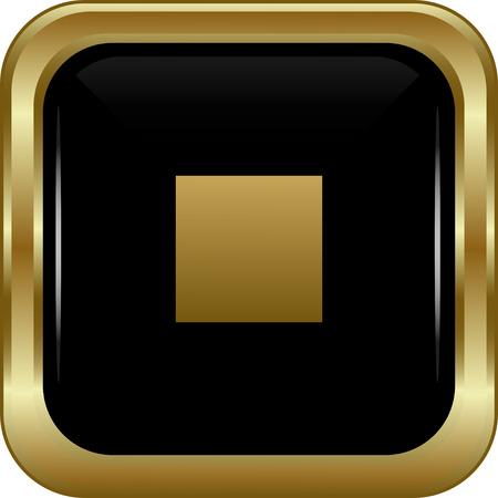 boton stop: Negro bot�n de parada de oro. Resumen ilustraci�n vectorial. Vectores
