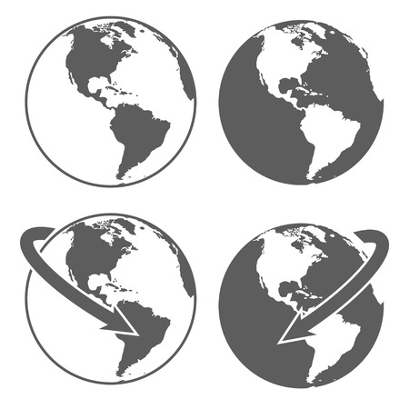 white background'abstract: Gray earth icons set on white background. Abstract vector illustration.