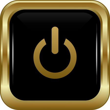 shutting: Black gold power button. Abstract vector illustration. Illustration
