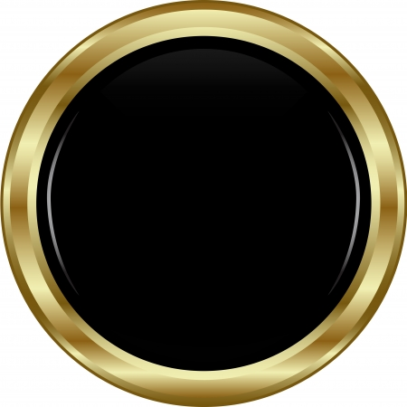 shiny black: Black gold button. Abstract vector illustration.