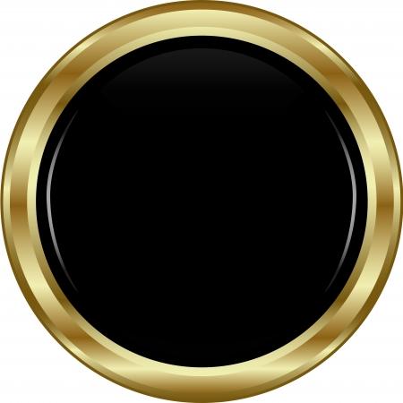 Zwarte goud knop. Abstract vector illustratie.