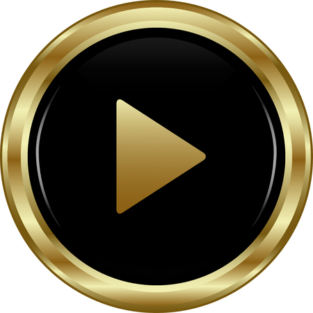 Black gold play button. Abstract vector illustration. Vector