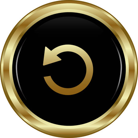 Black gold return button. Abstract vector illustration.