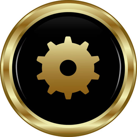 Black gold settings button  Abstract vector illustration  Vector