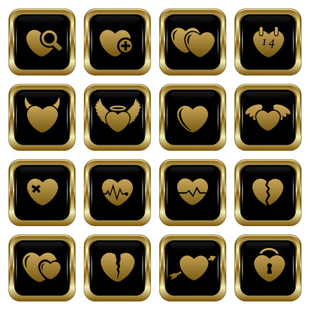 Set of the black gold heart buttons Abstract vector illustration  Vector