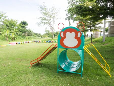 colorful slide: Slide, Children in playground