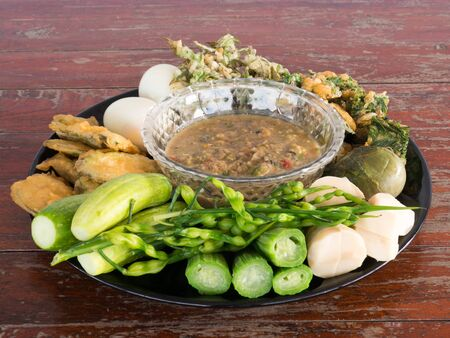 fermented: Fermented fish spicy dip with boiled eggs and vegetables