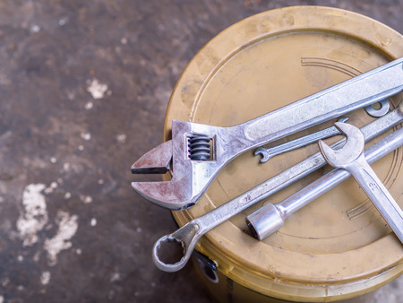 rusty nail: Old tools  (wrench spanner screwdriver pliers)