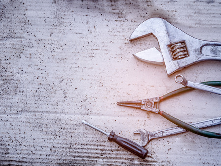 old tools: Old tools  (wrench spanner screwdriver pliers)