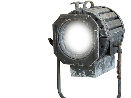 turn on, old spot light  isolated on white background.clipping path.