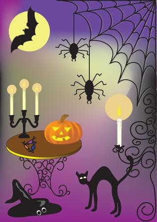 halloween illustration with cat moon spider pumkin