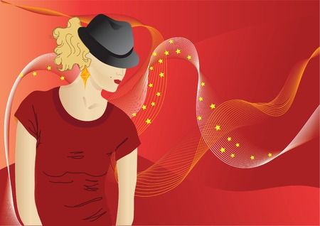 woman  puting her hat over her eyes Illustration
