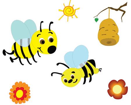vector illustration of bees picking honey
