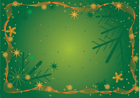 vector illustration green christmas frame