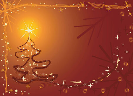 vector illustration of the christmas tree with star